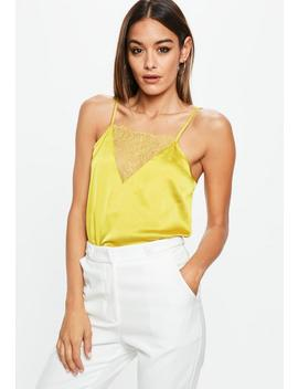 Yellow Satin Insert Bodysuit by Missguided