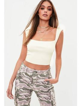 White Cap Sleeve Crop Top by Missguided