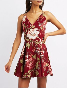 Strappy Floral Skater Dress by Charlotte Russe