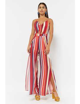 Stripe Crepe Cami Jumpsuit by F21 Contemporary