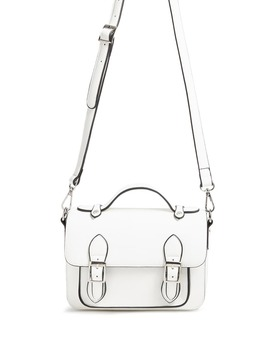 Buckle Front Faux Leather Satchel by F21 Contemporary
