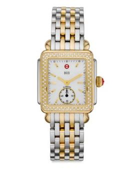 Deco 16 Diamond, Mother Of Pearl, 18 K Goldplated & Stainless Steel Bracelet Watch by Michele Watches
