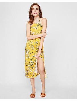 Floral High Neck Fitted Dress by Express