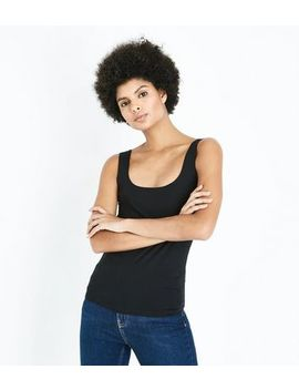 Black Square Neck Vest Top by New Look