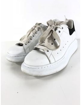Q39 Alexander Mcqueen White Leather Black Suede Lace Up Sneaker Women Size 38 by Alexander Mc Queen