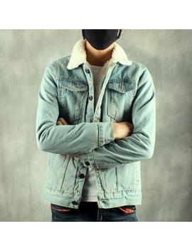 Left Rom 2018 New Winter's Men's Fashion Fleece Thick Pure Color Casual Denim Jackets Male Cotton Slim Vintage Jackets Men Coats by Left Rom Store