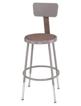 "National Public Seating 6218 Hb Steel Stool With Hardboard Seat Adjustable And Backrest, 19"" 27"", Grey by National Public Seating"