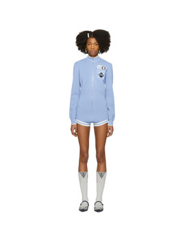 Blue Patches Jumpsuit by Miu Miu