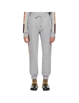 Grey Sequinned Cat Track Pants by Gucci