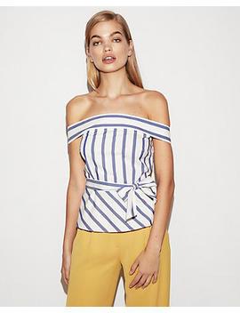 Striped Tie Waist Peplum Top by Express