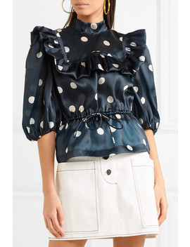 Ruffled Polka Dot Silk Organza Top by Ganni