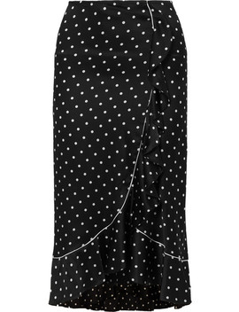 Dufort Ruffled Polka Dot Silk Blend Satin Skirt by Ganni