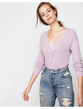 Ribbed Twist Front V Neck Sweater by Express