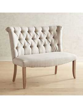 Flax Banquette Dining Bench With Natural Whitewash Wood by Colette Collection