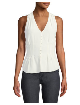 Eulalia V Neck Sleeveless Silk Top by Joie