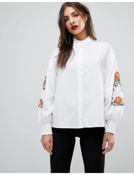 Mango Embroidered Sleeve Shirt by Mango