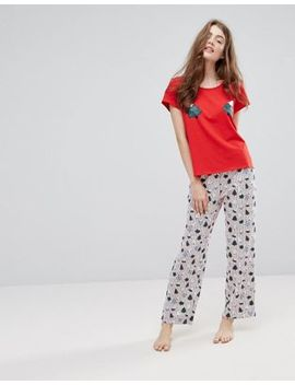 Monki Holidays Tree Print Top Stripe Pajama Set by Monki