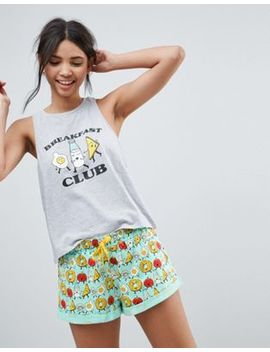 Asos Breakfast Club Short And Tank Pajama Set by Asos Collection