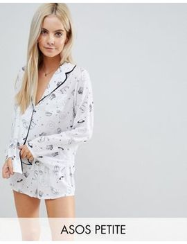 Asos Petite Illustrated Conversational Short Pajama Set In 100 Percents Modal by Asos Petite