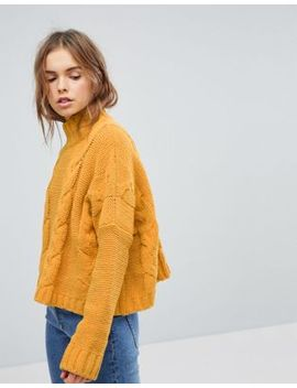 Bershka Chenille Cable Knitted Sweater by Bershka