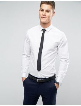 Asos – Schmales Stretch Hemd In Weiß Mit Schwarzer Krawatte, Rabatt by Asos