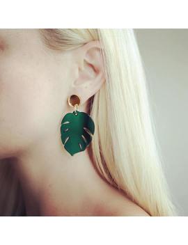 Monstera Drop Earrings by Etsy