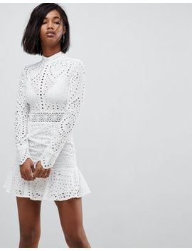 Lioness High Neck Cutwork Lace Mini Skater Dress by Lioness