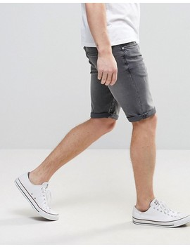 River Island Skinny Denim Shorts In Gray Wash by River Island