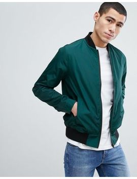 Asos Bomber Jacket In Bottle Green by Asos