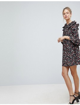 Influence Frill Sleeve Floral Shift Dress by Casual Dress