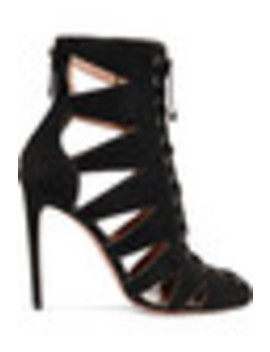 Cutout Patent Leather Trimmed Suede Sandals by Alaïa