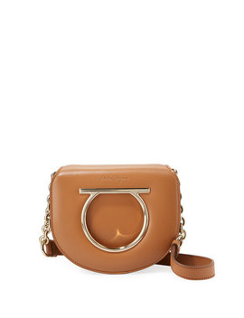Small Gancio Crossbody Bag, Light Brown by Salvatore Ferragamo