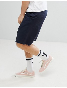 Asos Skater Shorts With Raw Edge In Navy by Asos