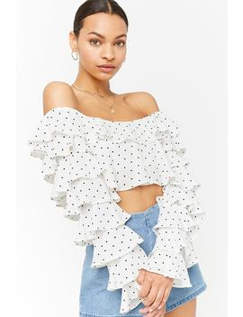 Polka Dot Tiered Flounce Crop Top by Forever 21