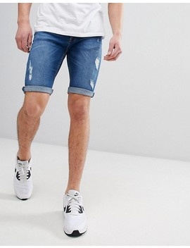 River Island Denim Shorts With Open Rips In Mid Blue Wash by River Island