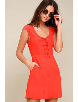 Sunny Spot Coral Red Lace Up Dress by Lulus