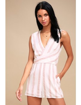 Carousel Ride White And Pink Striped Romper by Lulus