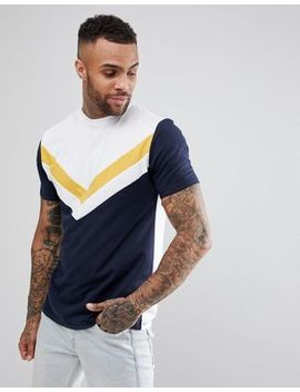 Asos Relaxed Longline T Shirt With Chevron Cut & Sew Panel by Asos