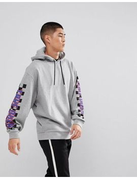 Asos Oversized Hoodie With Text & Checkerboard Sleeve Print by Asos