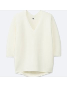 Women 100 Percents Cotton 3 D Cocoon Silhouette 3/4 Sleeve Sweater by Uniqlo