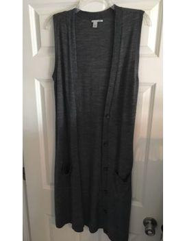 Halogen Sleeveless Long Gray Button Merino Wool Cardigan, Women's Size Small S by Halogen