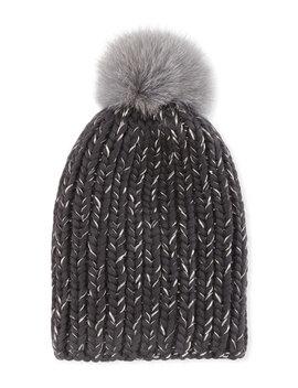 Rain Fur Pompom Beanie Hat, Gray by Neiman Marcus