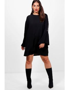 Plus Tilly Woven Metal Detail Shift Dress by Boohoo