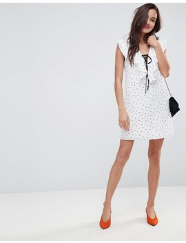 Girls On Film Polka Dot Shift Dress Wth Tie Ruffle Neck by Girls On Film