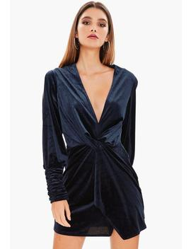 Navy Velvet Slit Sleeve Knot Front Wrap Dress by Missguided