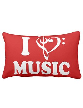 "Zazzle I Heart Music Throw Pillow 13"" X 21"" by Zazzle"