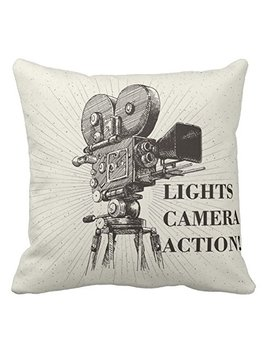 Kissenday 18x18 Inch Lights Camera Action Director Motion Cotton Polyester Decorative Home Decor Sofa Couch Desk Chair Bedroom Car Television Scene Memory Hollywood Theater Square Throw Pillow Case by Kissenday