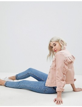 Only Coloured Denim Jacket With Ruffle Sleeve by Only