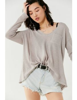 Uo Lyla A Line Thermal Long Sleeve Top by Urban Outfitters