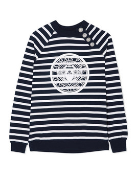 Printed Striped Cotton Jersey Sweatshirt by Balmain